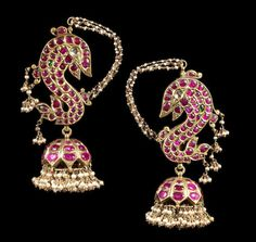 A pair of ruby, emerald and diamond-set Ear Ornaments South India, late Century Mughal Jewelry, Antic Jewellery, India Jewelry, Temple Jewellery, Gold Jewellery, Indian Wedding Jewelry, South Indian Jewellery, Bridal Jewelry, Antique Earrings
