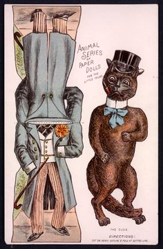 Cat - The Paper Collector: Animal Series of Paper Dolls, c. 1890s at http://thepapercollector.blogspot.com/2012/11/animal-series-of-paper-dolls-c-1890s.html
