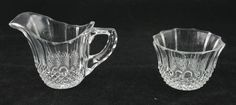 Vintage Pressed Glass Cream Pitcher Sugar Bowl Set Quilted Cut Around Top