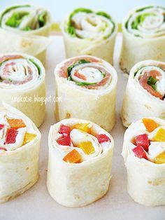 Smakocie i Łakołyki: Roladki z tortilli z trzema nadzieniami Sandwiches, Tasty, Yummy Food, Tortilla, Appetisers, Chicken Recipes, Food And Drink, Healthy Recipes, Healthy Meals