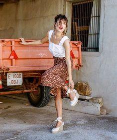 Crop tops and polka dot skirt set   Girlfriend is Better