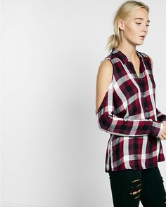 plaid cold shoulder shirt