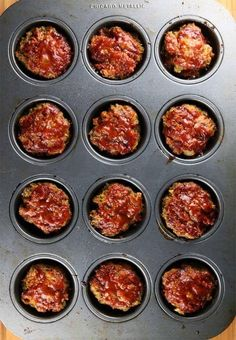 Barbecue Meatloaf Muffins in Pan