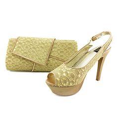 Women's Shoes Slingback Stiletto Heel Lace Sandals Shoes Matching Lace Clutches Bag – USD $ 59.99