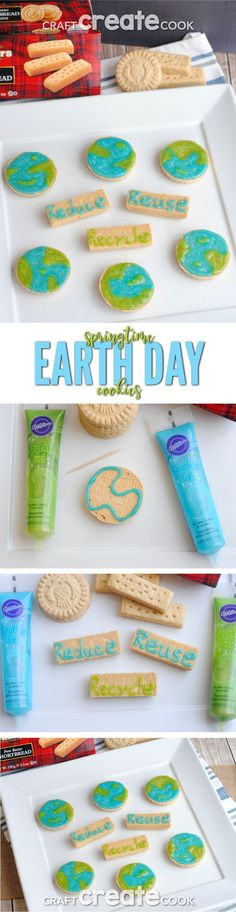 These easy springtime Earth Day cookies are a cinch to make and so delicious! via @CraftCreatCook1