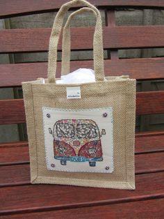 Image on cloth and glue on jute bag 75a4070f14fc9