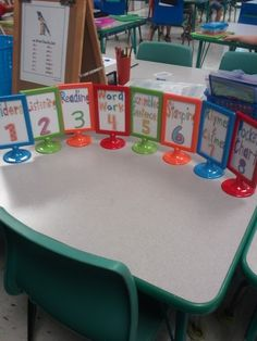 IKEA frames for Daily 5 & Math Workshop areas :) Classroom Organisation, Teacher Organization, Classroom Setup, Classroom Design, Classroom Management, Classroom Table Names, Future Classroom, Organizing, Kindergarten Centers