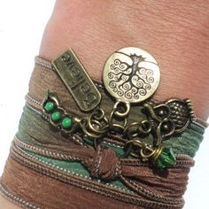 Owl Silk Wrap Bracelet Yoga Jewelry Tree of Life Believe Three Peas in a Pod Unique Gift for Her Mothers Day Birthday Under 30 Item V12