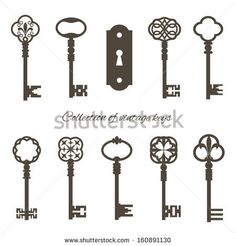 Collection of vintage keys and keyhole isolated on white. Vector illustration. by Cute little things, via Shutterstock