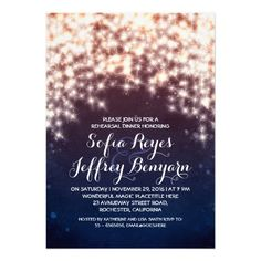 royal blue string lights rehearsal dinner invites