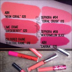 Here's a color round up of some liquid to matte coral colors to get you all prepared f...   Use Instagram online! Websta is the Best Instagram Web Viewer! #makeup #maquillaje