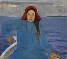 Rowing girl with a red hat by HUGO SIMBERG