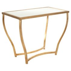 Perfect for displaying a vase of bright blooms or showcasing a cluster of framed photos, this lovely table features elegantly curved legs in a gleaming gold ...