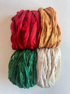 Knit Work NW Multi Silk LOT 8 Skeins Yarn Lace Fabric Sari Crochet Woven Thread
