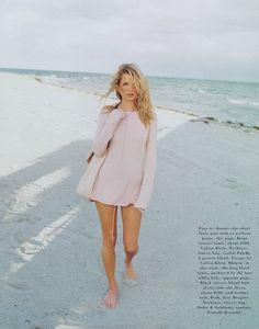 "Kate Moss by Peter Lindbergh in ""Summer Love"" Harper's Bazaar February 1996"