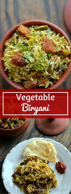 Biryani is the king of all rice recipes and this Vegetable Biryani has mixed vegetables and basmati rice, all cooked down in a medley of spices! Side Dish Recipes, Rice Recipes, Vegetable Recipes, Seafood Recipes, Indian Food Recipes, Vegetarian Recipes, Healthy Recipes, Kerala Recipes, Vegetarian Diets