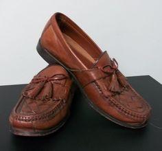 Johnston & Murphy Halsey Kiltie Tassel Loafer Antique Mahogany Leather Mens 9M  #JohnstonMurphy #LoafersSlipOns