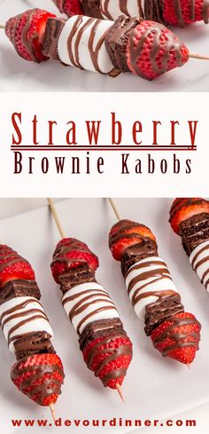 Perfect snack for potlucks parties office events neighborhood gatherings. Fun and easy to make even the kids can make them. Strawberry kabobs can be a snack or a dessert. Who doesn't love food on a stick? Strawberry Kabobs, Strawberry Brownies, Fruit Kabobs, Strawberry Desserts, Mini Desserts, Party Desserts, Delicious Desserts, Yummy Food, Brownie Desserts