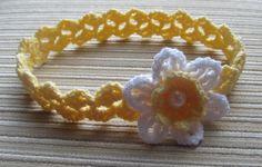 Crochet Pattern #117 Baby Headband with a White Daffodil