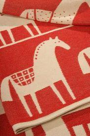 Scandinavian horse cotton blanket