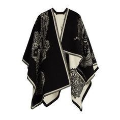 Alexander McQueen Paisley-jacquard wool and cashmere-blend cape ($743) ❤ liked on Polyvore featuring outerwear, black multi, wool capes, woolen cape, alexander mcqueen, alexander mcqueen cape and cape coat