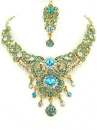 Lustrous Eye-Catcher Beautiful Necklace Set With Maang Tika & Earrings