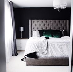 Different bedside tables & chandelier, but I am OBSESSED with this bedroom. May need to buy Ashley Furniture's Sorinella Queen Upholstered Bed next.