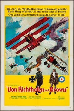 """Von Richthofen and Brown (United Artists, 1971). One Sheet (27"""" X 41""""). War. Starring John Phillip Law, Don Stroud, Barry Primus, Karen Huston, Corin Redgrave, and Hurd Hatfield. Directed by Roger Corman."""