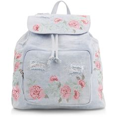 New Look Light Blue Denim Embroidered Backpack (105 BRL) ❤ liked on Polyvore featuring bags, backpacks, pale blue, denim bag, draw string bag, snap bag, rucksack bags and handle bag