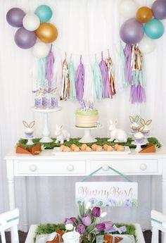Easter Bunny Bash Dessert Table by A Lovely Design  60100d83f2c5