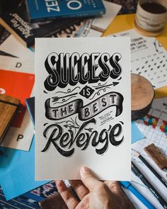 """""""Success is the best revenge"""" - Hand Lettering Quote by Bagus Sudrajat Calligraphy Quotes Doodles, Brush Lettering Quotes, Doodle Quotes, Doodle Lettering, Hand Lettering Quotes, Creative Lettering, Typography Quotes, Doodle Art Drawing, Drawing Quotes"""