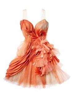 Tangerine Ruffled Formal fashion dress orange formal gown evening ruffle short tangerine
