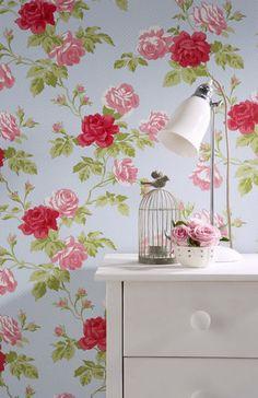 Whitewell floral shabby chic wallpaper | eBay UK