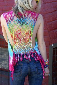 Rainbow Tie Dye Lattice back fringe Tshirt tee top Recycled
