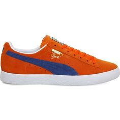 Puma Clyde lace-up suede trainers ($69) ❤ liked on Polyvore featuring men's fashion, men's shoes, men's sneakers, mens lace up shoes, puma mens sneakers, mens suede sneakers, mens orange sneakers and puma mens shoes