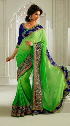 Green Georgette Embroidred Saree EK11704. love everything about this!