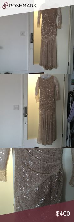 Carmen Marc Valvo evening gown Stunning, sparkly, very flattering, evening gown. Only worn once then professionally cleaned. Carmen Marc Valvo Dresses Long Sleeve