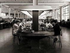 Detlora Corporation factory floor, 1940's. All furnishings custom designed by Alexander Girard. including innovative lighting and continuous circular production track. Photo by Elmer Astleford