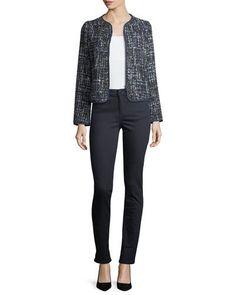 0e63f8faed2a -75WG Armani Collezioni Lurex Tweed Zip-Front Jacket AJ1 High-Waist Super-