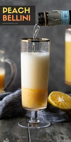 Peach Bellinis are a classic Italian cocktail often served at brunch. Our easy, 4-ingredient Bellini recipe uses peach puree (made from frozen peaches), peach liqueur, lemon juice and Prosecco and can be served in minutes! Italian Cocktails, Prosecco Cocktails, Fun Cocktails, Cocktail Drinks, Drinks Alcohol Recipes, Drink Recipes, Cocktail Recipes, Dessert Recipes, Peach Bellini Recipe