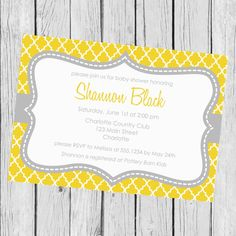 Yellow And Gray Baby Shower Invitation by CarouselPrintables, $12.00