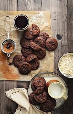 Chocolate Choco Chip Oats Cookies #foodphotography #foodstyling #baking #cookies #bake #oats #chocolate #chocochips