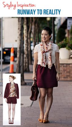 burgundy floral scarf, burgundy oxblood full skirt, white chiffon shirt, shoemint elise tan bow pumps outfit #ootd by kileencheng, via Flickr