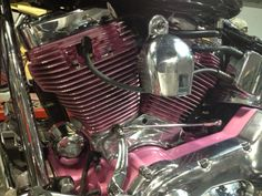 """The engine of my """"Pink Angel"""", powder coated and show cut!"""