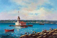 Kuşlar Balıkcılar ve Kız Kulesi Tablo kkt029