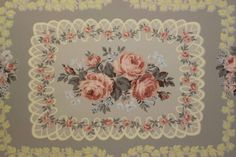 Pink Roses with Lace Vintage Wallpaper