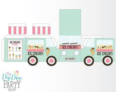 Ice Cream Truck/Van Party Printable on 1 Page Mint & 3d Paper Crafts, Paper Toys, Printable Box, Ice Cream Party, Party Centerpieces, Diy Box, Party Printables, Packaging Design, Crafts For Kids