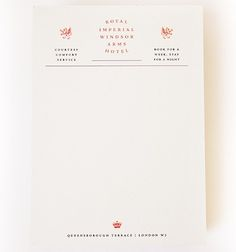 The Royal Imperial Windsor Arms Hotel Letterhead from 'National Lampoon's European Vacation.'