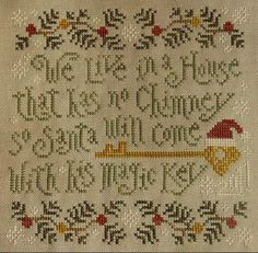 I need this for my house! My kids have a lot of questions, lol! -----Santa's Magic Key - Cross Stitch Pattern  by Silver Creek Samplers