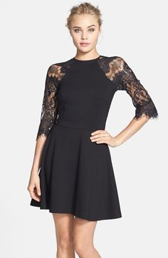 $88, Black Lace Party Dress: BB Dakota Yale Lace Panel Fit Flare Dress. Sold by Nordstrom. Click for more info: https://lookastic.com/women/shop_items/90605/redirect